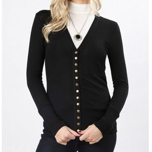 Plus Size Snap Button Black Cardigan Sweater 1x-3x